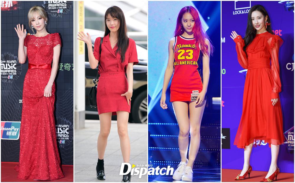 Red Lip Red Earrings Red Dress Kpop Idols Who Look Really Good In